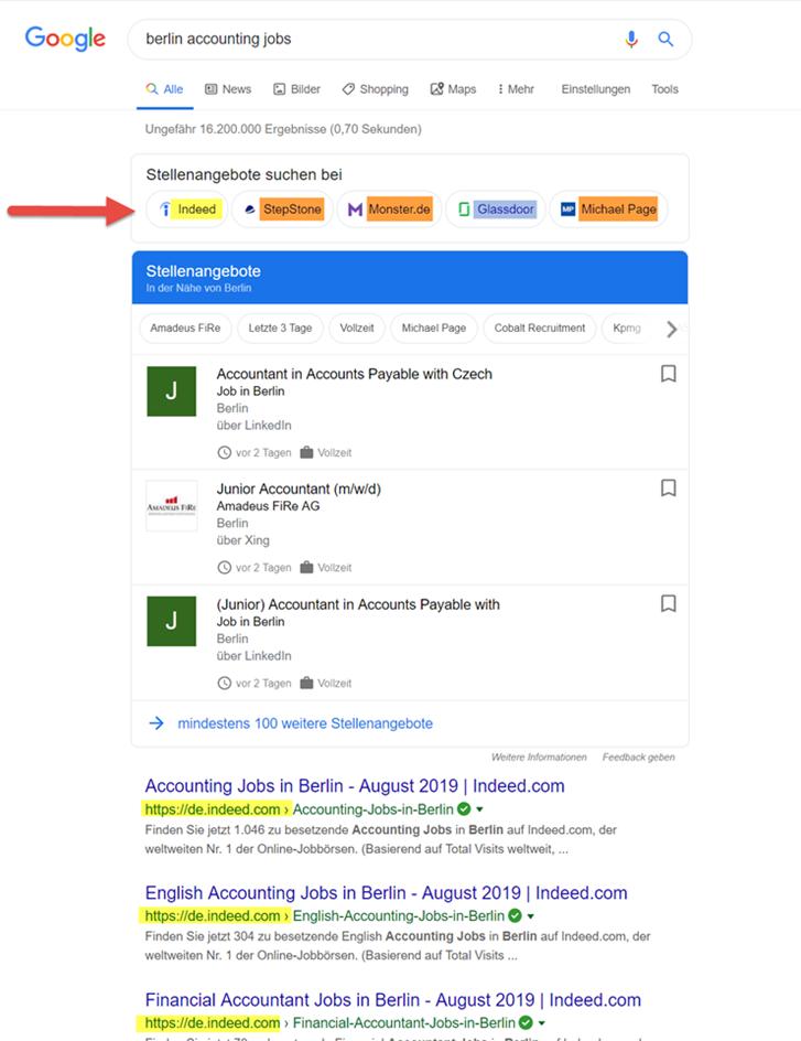 Google zoekresultaat Duitsland