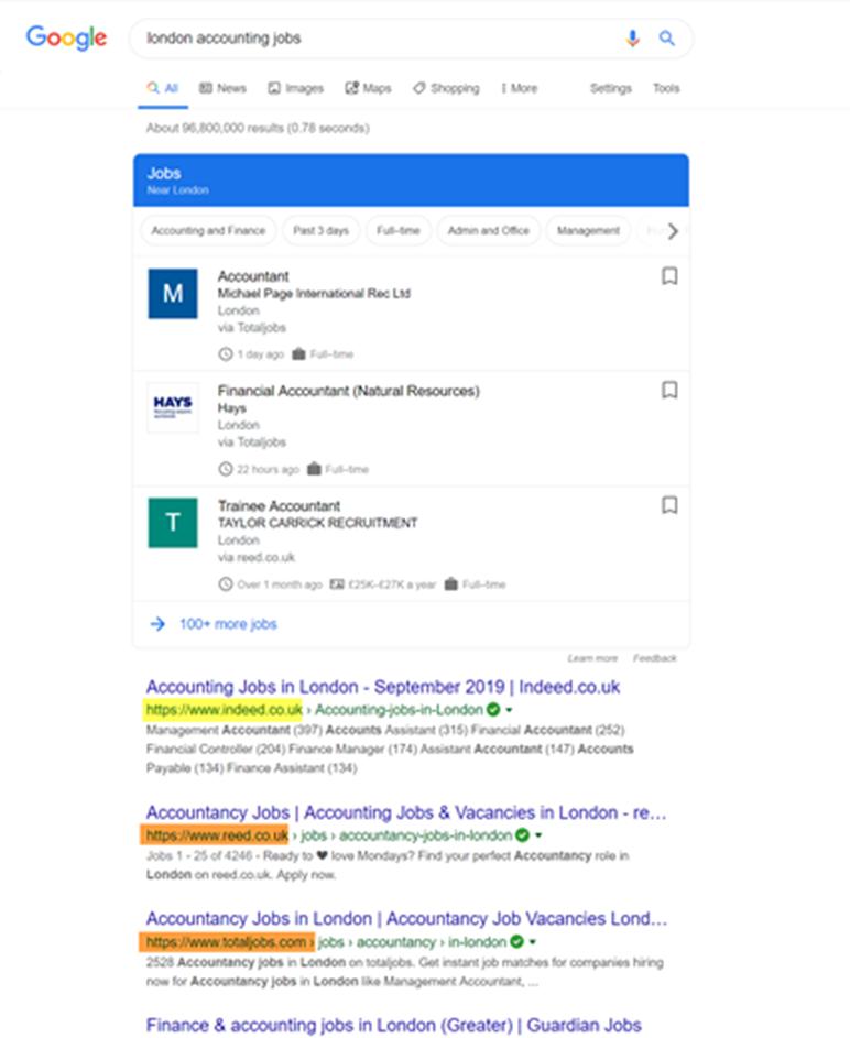 Google zoekresultaat UK
