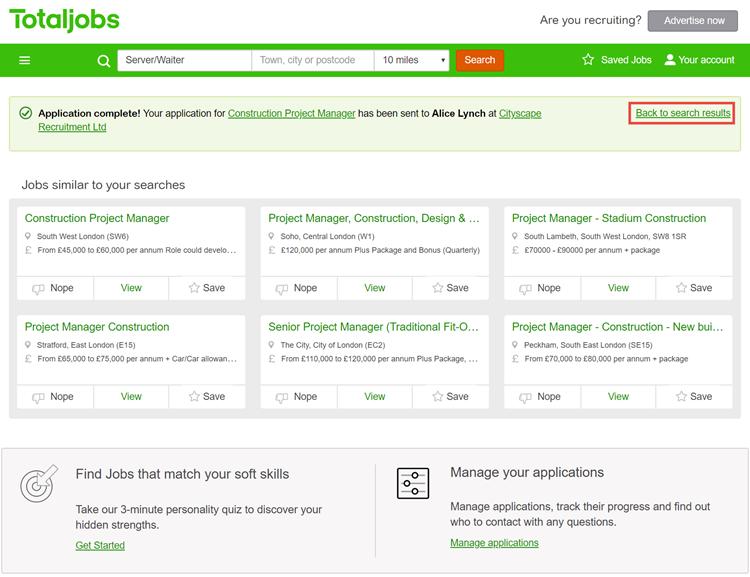 Bedankt voor sollicitatie: Totaljobs
