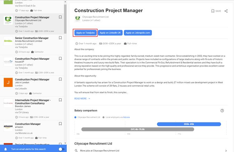Google for Jobs: zoekresultaatpagina
