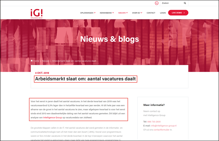 Webpagina Intelligence Group