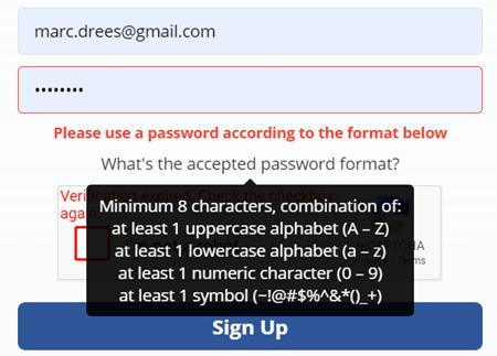 Wachtwoord en reCAPTCHA UX issues, 2