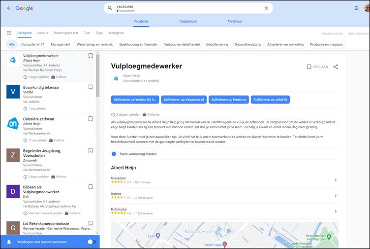 Google for Jobs, zoekresultaat. Bladeren