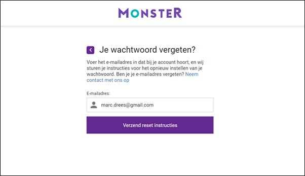 Wachtwoord vergeten - Monsterboard