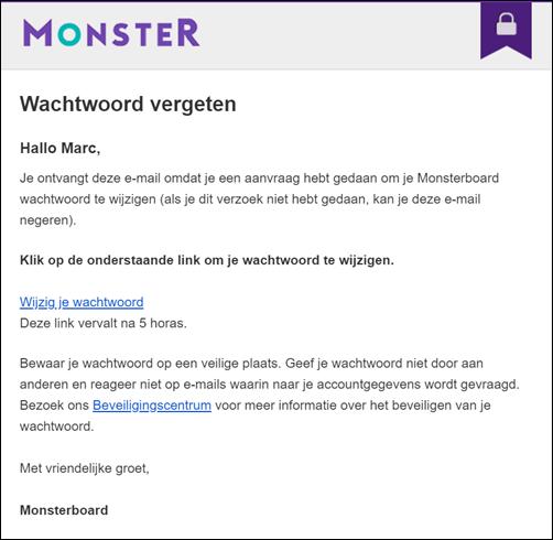 Wachtwoord vergeten - Monsterboard e-mail