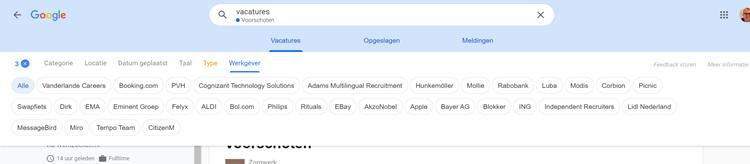 Google for Jobs, presentatie filteropties