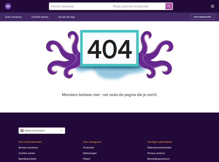 Monsterboard 404-pagina
