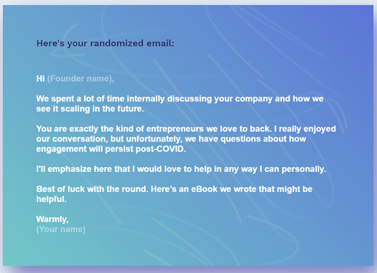 Unfortunately - rejection e-mail