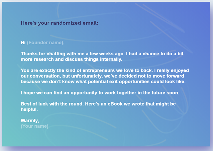 Unfortunately - rejection e-mail - 2