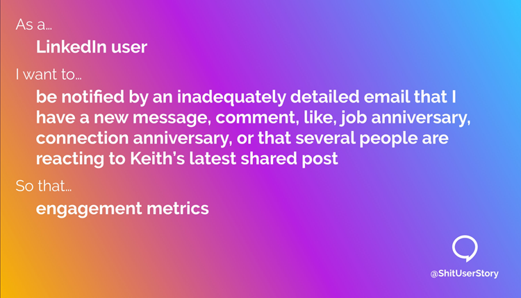 Shit user story: LinkedIn engagement metrics