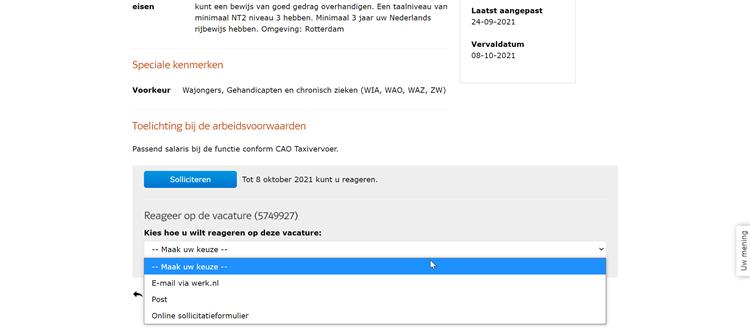 Werk.nl sollicitatieformulier