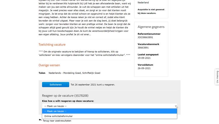 Werk.nl sollicitatieformulier 2